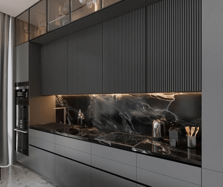 Современная кухня в сером цвете в сочетании с серым