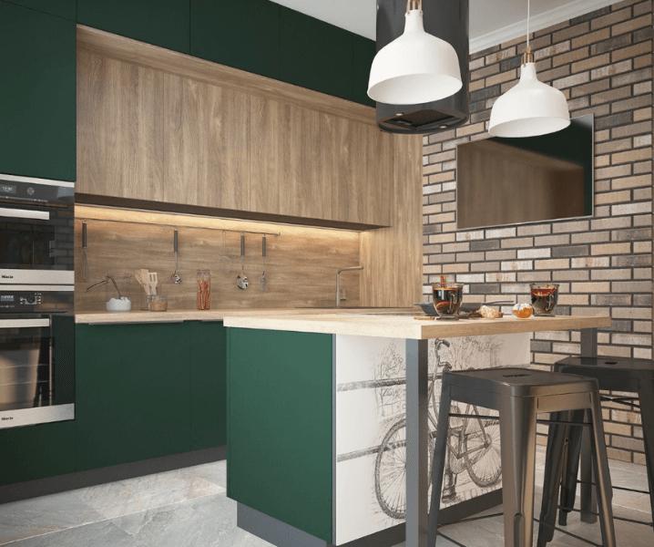 кухня эклектика зеленая