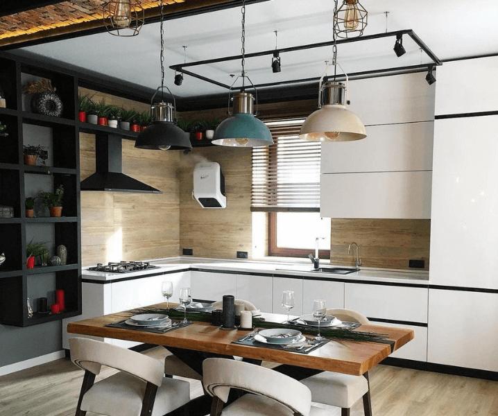 белая кухня в стиле Лофт светильники