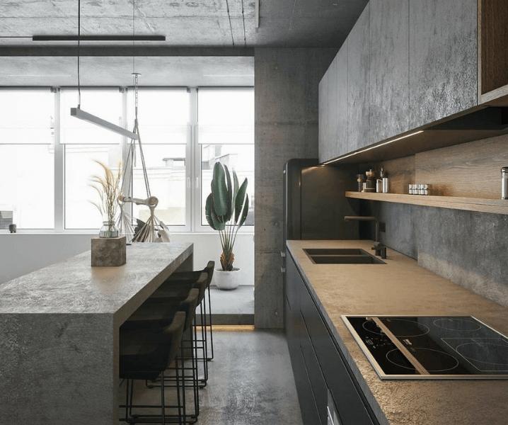 бетонная кухня со столешницей