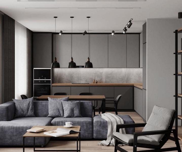 серая кухня в стиле лофт с черными светильниками