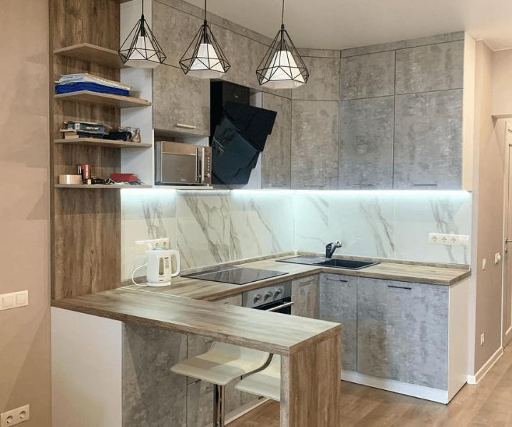 бетонная кухня с деревом